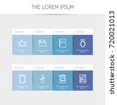 set of 8 editable teach outline ... | Shutterstock .eps vector #720021013