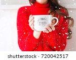 cozy atmosphere girl with big... | Shutterstock . vector #720042517