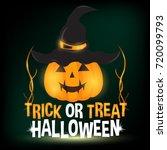happy halloween with pumpkin... | Shutterstock .eps vector #720099793
