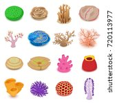 coral reef icons set. isometric ... | Shutterstock .eps vector #720113977