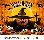happy halloween design. cute... | Shutterstock .eps vector #720130183