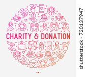 charity and donation concept in ... | Shutterstock .eps vector #720137947