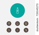 set of 7 drinks outline icons...   Shutterstock .eps vector #720145273