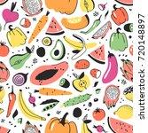 hand drawn seamless pattern... | Shutterstock .eps vector #720148897