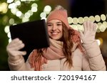 winter holidays and people... | Shutterstock . vector #720194167