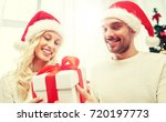 christmas  holidays and people... | Shutterstock . vector #720197773