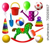 kids toys. set of different... | Shutterstock .eps vector #720203017