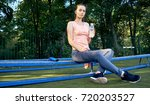 beautiful fitness athlete woman ...   Shutterstock . vector #720203527