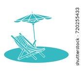 beach umbrella with chair | Shutterstock .eps vector #720255433