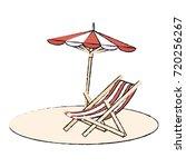 beach umbrella with chair | Shutterstock .eps vector #720256267