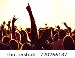 cheering crowd at a rock concert | Shutterstock . vector #720266137