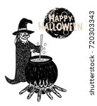 detail hand drawn halloween old ... | Shutterstock .eps vector #720303343