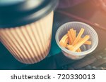 snack and take away paper hot...   Shutterstock . vector #720330013