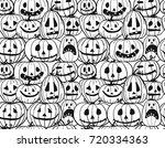halloween pumpkins  seamless... | Shutterstock .eps vector #720334363
