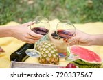 friends drinking wine on picnic ...   Shutterstock . vector #720337567