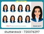 set of woman expression... | Shutterstock .eps vector #720376297