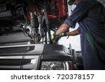 repairing broken semi truck... | Shutterstock . vector #720378157
