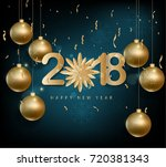 happy new year 2018 greeting... | Shutterstock .eps vector #720381343