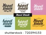 hand made  logo or label.... | Shutterstock .eps vector #720394153
