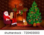 christmas living room interior... | Shutterstock .eps vector #720403003