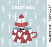 cute winter greeting background ... | Shutterstock .eps vector #720442267