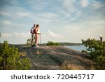 active senior couple hiking on... | Shutterstock . vector #720445717