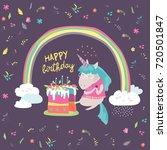 little unicorn celebrates...   Shutterstock .eps vector #720501847