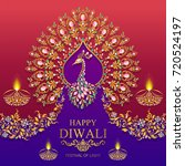 happy diwali festival card with ... | Shutterstock .eps vector #720524197