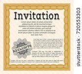 orange invitation. money style...   Shutterstock .eps vector #720553303