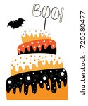 happy halloween cake | Shutterstock . vector #720580477