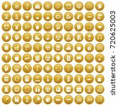 100 education icons set in gold ... | Shutterstock . vector #720625003