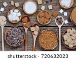 various kinds of sugar on... | Shutterstock . vector #720632023