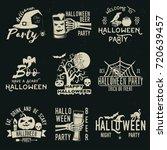 set of halloween celebration... | Shutterstock .eps vector #720639457