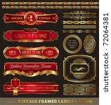 vector set of vintage framed... | Shutterstock .eps vector #72064381