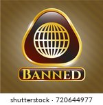 gold badge with globe  website ... | Shutterstock .eps vector #720644977