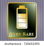 gold emblem with battery icon... | Shutterstock .eps vector #720652393