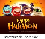 happy halloween party. group of ... | Shutterstock .eps vector #720675643