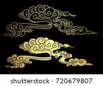 gold chinese cloud on black... | Shutterstock .eps vector #720679807