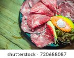 raw beef slice for bbq  japan...   Shutterstock . vector #720688087