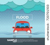 car front view in a flood rainy ... | Shutterstock .eps vector #720701503