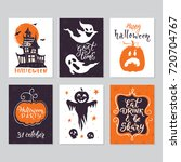 vector halloween greeting card  ... | Shutterstock .eps vector #720704767