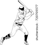 baseball player with a bat in... | Shutterstock .eps vector #720705577