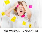 crying child with question...   Shutterstock . vector #720709843