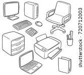 vector set of office accessories | Shutterstock .eps vector #720712003
