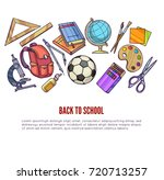 back to school supplies and... | Shutterstock . vector #720713257