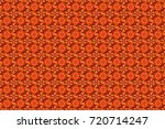 flowers on orange  brown and... | Shutterstock . vector #720714247