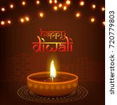 happy diwali background with... | Shutterstock .eps vector #720779803