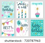set of six colorful birthday... | Shutterstock .eps vector #720787963