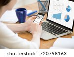 business woman sitting in front ... | Shutterstock . vector #720798163
