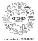 hand drawn kitchen doodles.... | Shutterstock .eps vector #720810283